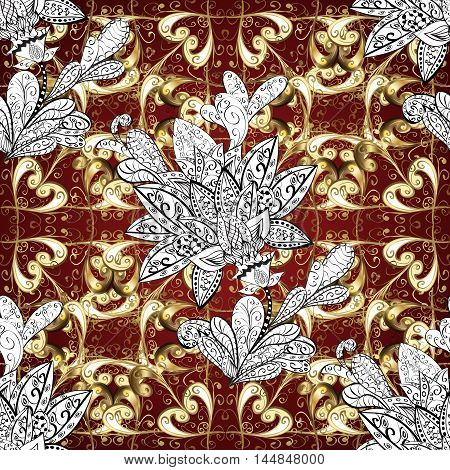 Golden pattern on brown background with white doodles flower. Vector.
