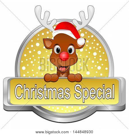decorative golden Christmas Special button - 3d illustration