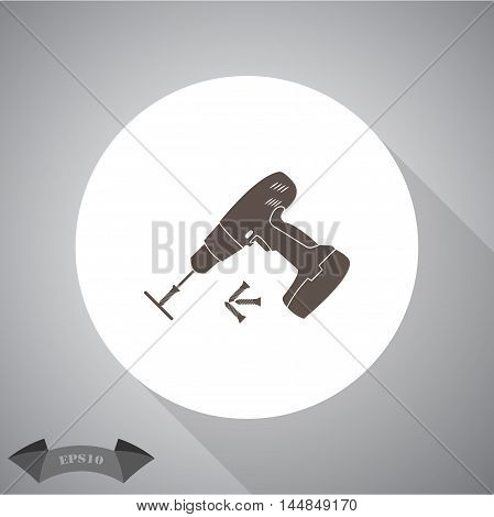 Electric Screwdriver with screws  vector icon for web and mobile.