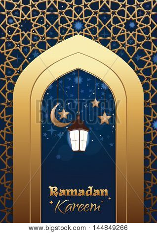 Ramadan Kareem islamic background. Eid mubarak. Ramadan greeting template with lighting lantern. Arabic design. Islam holly month. Arabic lamp celebration Muslim festival. Vector illustration