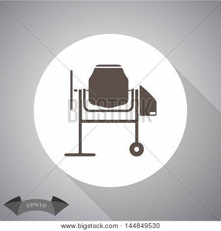 Concrete mixer  vector icon for web and mobile.