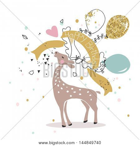 birthday card with roaring deer