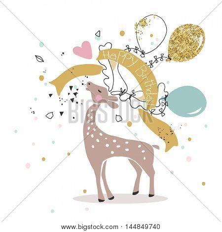 birthday card with roaring deer