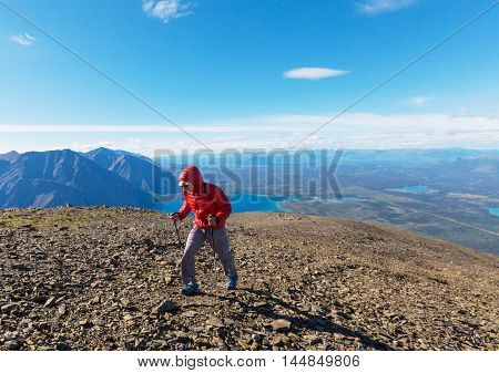 Hiking man in the mountains