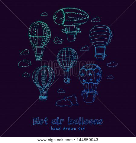 Hot Air Balloons doodle set. Vintage illustration for identity, design, decoration, packages product and interior decorating