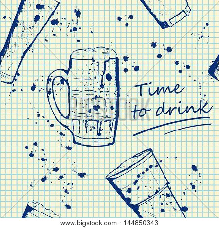 Beer mug pattern in hand drawn sketch style, blue notebook texture