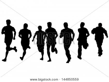 Man athletes on running race on white background