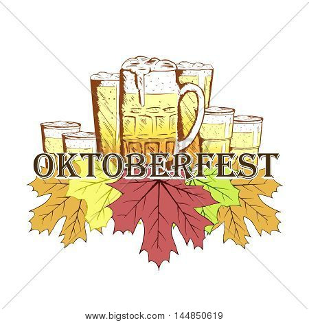 Oktoberfest emblem in hand drawn sketch style with maple leafs