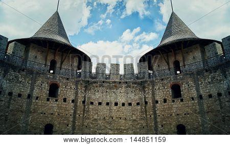 Stone walls of an ancient military fortress. Historical landmark medieval citadel in Soroca Moldova