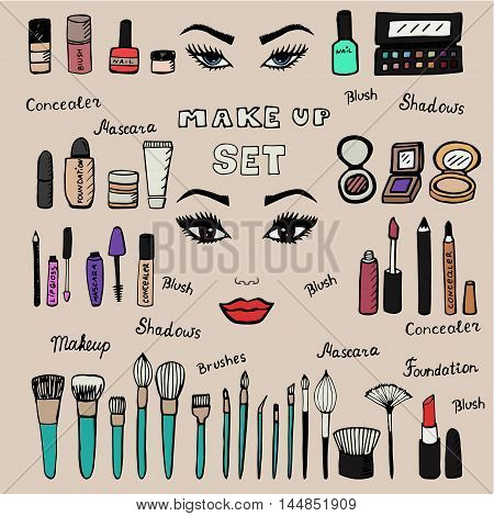 Make up kit. Doodle makeup set. Collection of brushes, nail polishes, lipsticks and etc. from make up artist kit. Hand drawn make up set. Vector illustration.