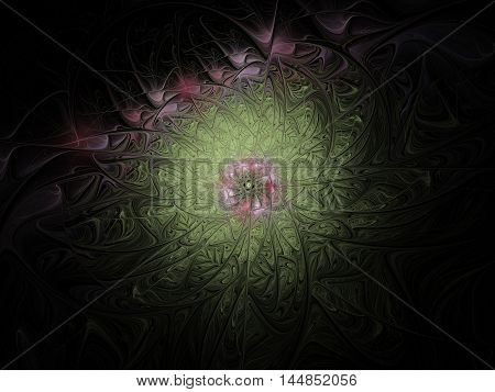 Abstract green flower on purple with black background