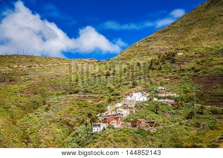 beautiful view of Masca village Tenerife Canary Islands Spain