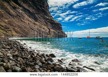 beautiful view of the Playa de Masca at the end of the popular Gorge walk Tenerife Canary islands Spain