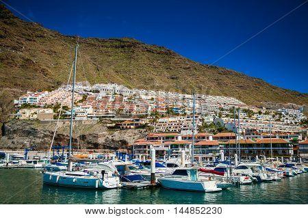 beautiful view of Los Gigantes marina by the Atlantic ocean in Tenerife Spain