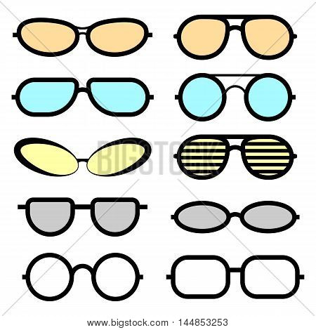 Set of glasses isolated. Glasses icons. Medical glasses