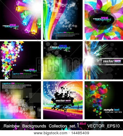 Rainbow Backgrounds Collection - 9 Flyer or brochures with colorful abstract motive - Set 1 Black Version