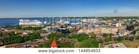 Estonia Tallinn - 25 MAY 2016: Tallinn port panoramic view