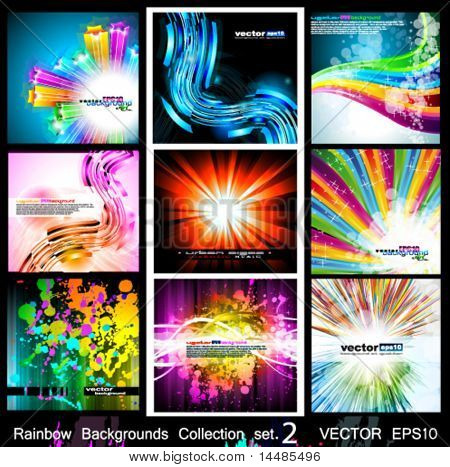 Rainbow Backgrounds Collection - 9 Flyer or brochures with colorful abstract motive - Set 2