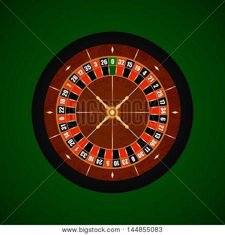 Vector Casino Gambling Roulette Wheel Over Dark Green.