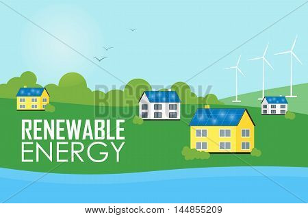 Renewable energy vector illustration. Eco settlement near river. Houses with blue solar panels on the roof. White wind generator turbines. The production of energy from the sun and wind.