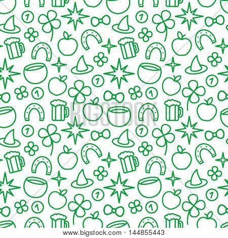 St. Patricks day green background. Vector seamless pattern