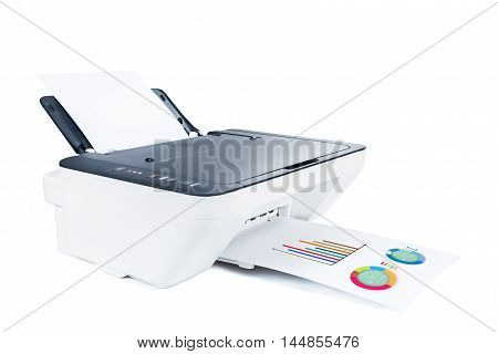 Printer and graphs on white isolated high quality and high resolution studio shoot