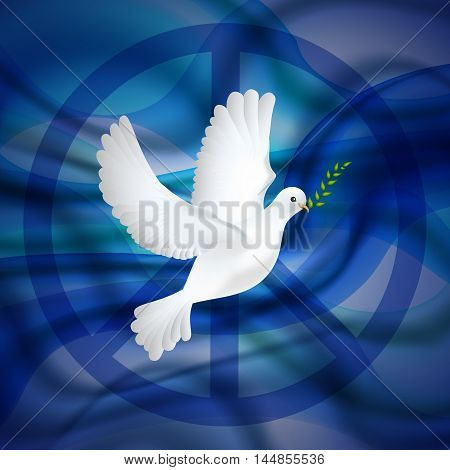 Peace dove with olive branch for International Peace Day poster on the blue waves background. Vector illustration.