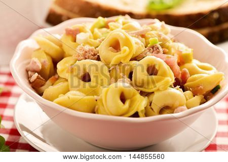 closeup of a ceramic bowl with a pasta salad made with tortellini on a table set with a red and white checkered tablecloth