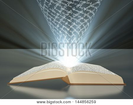 Book with floating text and light text is my own  3D Rendered