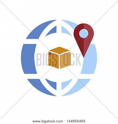 Globe pin icon isolated on white background vector illustation