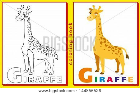 Coloring Book for Kids with letters and words. giraffe. vector image