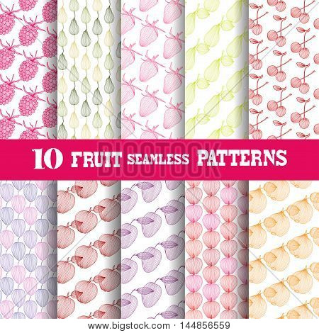 Set of 10 elegant seamless patterns with decorative vintage fruits design elements. Abstract food backgrounds. Patterns for invitations greeting cards scrapbooking print gift wrap manufacturing. Food theme