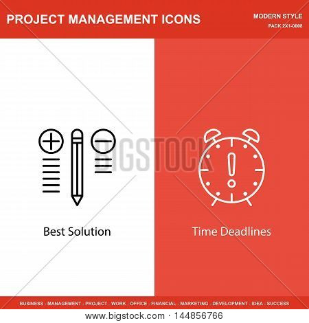 Set Of Project Management Icons On Best Solution And Deadline. Project Management Icons Can Be Used