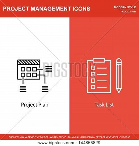 Set Of Project Management Icons On Planning And Task List. Project Management Icons Can Be Used For