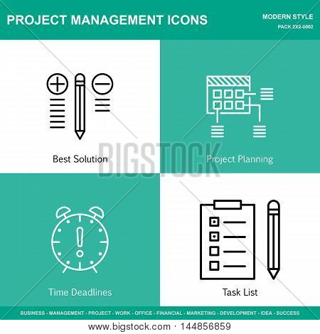 Set Of Project Management Icons On Best Solution, Planning And Deadline. Project Management Icons Ca