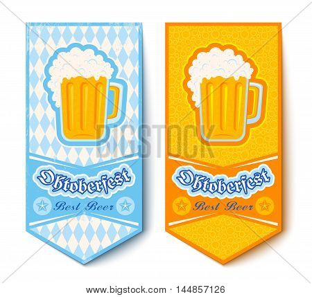 Vector set banners for Oktoberfest with mugs beer