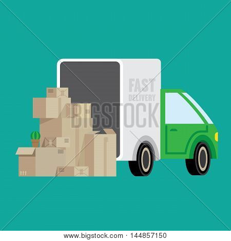 Illustration with a truck and boxes. Illustrates moving changing apartments fast delivery of goods.