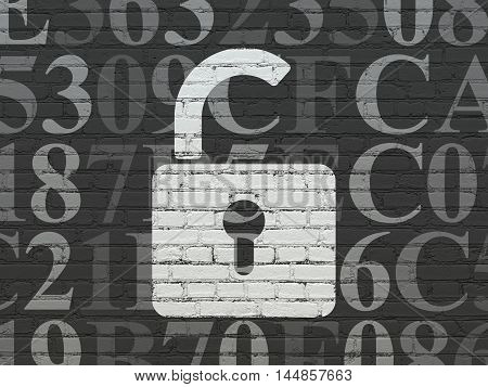 Information concept: Painted white Opened Padlock icon on Black Brick wall background with  Hexadecimal Code