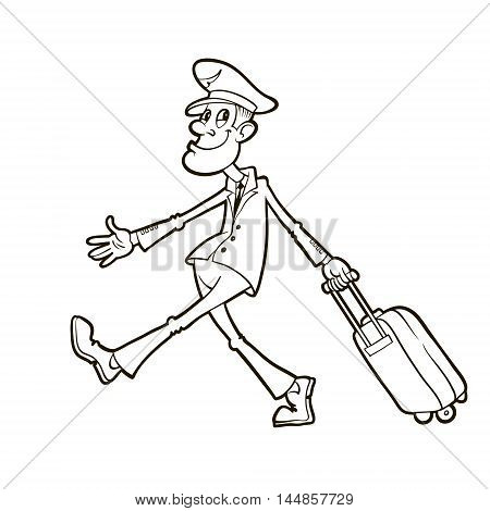 civil airline pilot in uniform walking and carrying suitcase