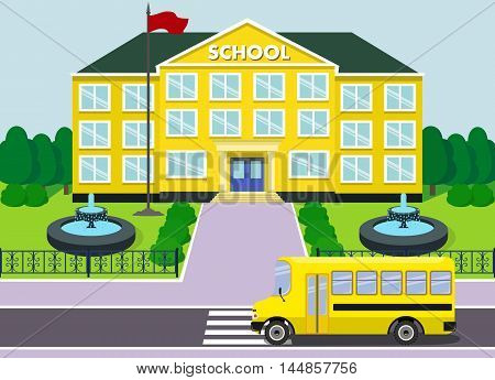 School building over landscape background with schoolbus and fountains. Vector illustration.
