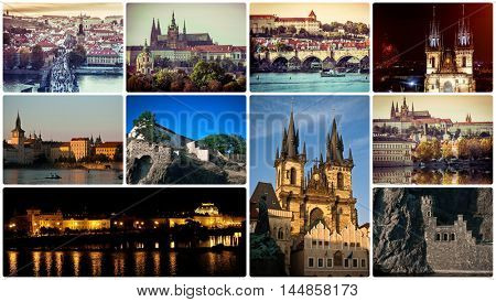 collage of different picturesque Prague sights and landscapes with architecture