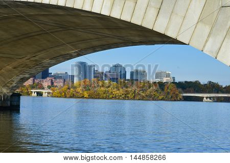 Washington DC in Autumn - A view of Rosslyn framed by Memorial Bridge