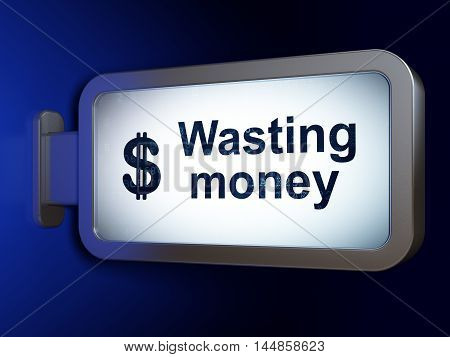 Money concept: Wasting Money and Dollar on advertising billboard background, 3D rendering