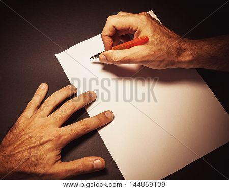 Writing A Letter By A Man