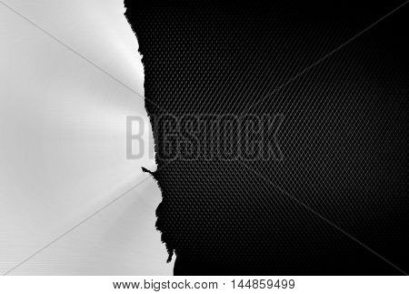 cracked metal with iron mesh background