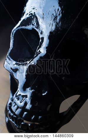 Terrifying halloween skull for closeup October holiday background