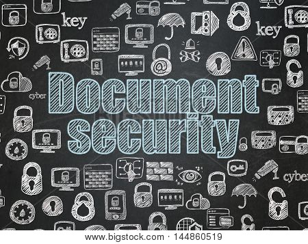 Security concept: Chalk Blue text Document Security on School board background with  Hand Drawn Security Icons, School Board