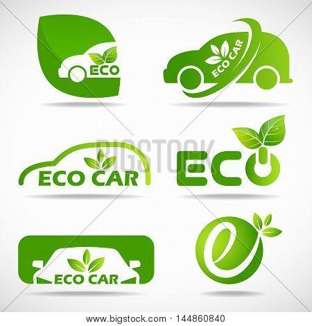 Eco car logo - green leaf and car sign vector set design