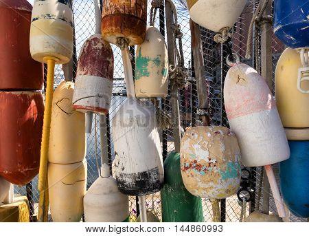 Ocean buoys or bobbers in filled frame format.