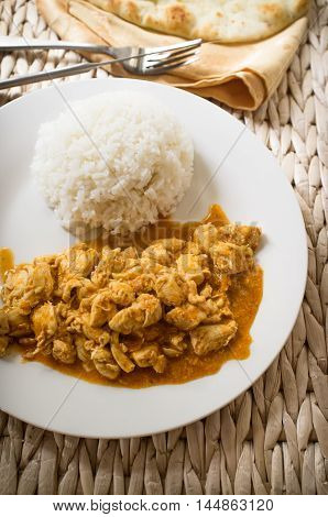 Authentic Indian cuisine Tikka Masala served with jasmin rice